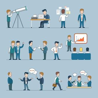 선형 평면 비즈니스 사람과 상황을 설정합니다. 기업인, 관리자, 직원 캐릭터 컬렉션. 랩톱 작업, 프레젠테이션, 휴식 시간, 채팅, 걷기, 브레인 스토밍