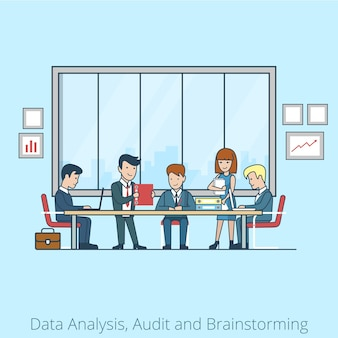 Linear flat business people brainstorming in meeting room  businessman, secretary, manager, client characters. team analysis, audit, planing concept.