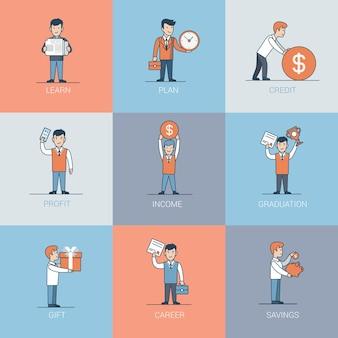 リニアフラットビジネスマンとオブジェクトの状況。学び、計画し、信用し、利益、卒業、贈り物、貯蓄ビジネスコンセプト。