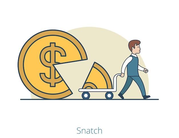선형 평면 사업가 카트에 동전 모양의 파이의 일부를 빼앗아갑니다. 주주는 비즈니스 개념을 날치기.