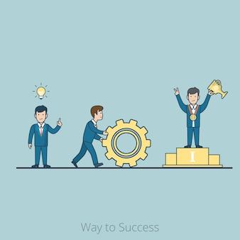 頭上にランプ、回転歯車、台座にトロフィーカップを備えたリニアフラットビジネスマン。アイデアから利益へのステップバイステップ、成功への道のビジネスコンセプト。