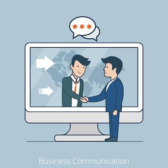 リニアフラットビジネスマンがコンピューターインターネットテクノロジーを握手ビジネスコミュニケーション、グローバリゼーション、チームワークの概念。