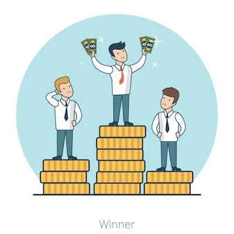 コインスタックパイル台座の上に線形フラットビジネスマン。手にお金を持っている市場競争の勝者。ビジネスコンセプトの成功。