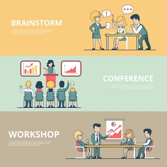 Linear flat businesspeople workshop, analytic conference, meeting room brainstorming concepts set of website hero images. presentation, business team around table, working process.