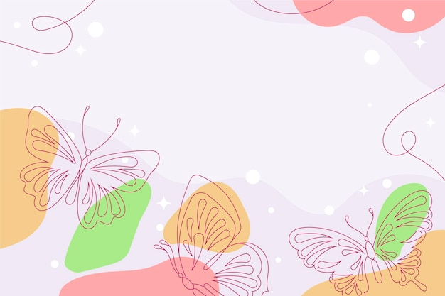 Linear flat butterfly outline background