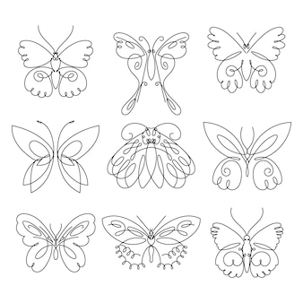 Linear flat butterfly outline collection
