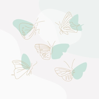 Linear flat butterfly outline pack