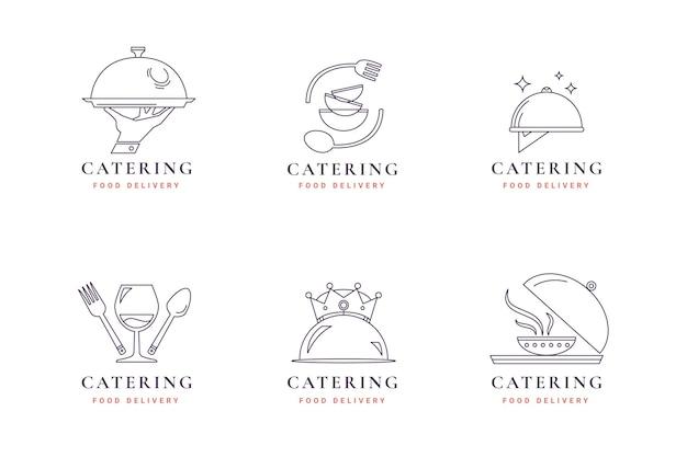 Коллекция логотипов линейной плоской кухни