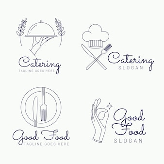Linear flat catering logo collection
