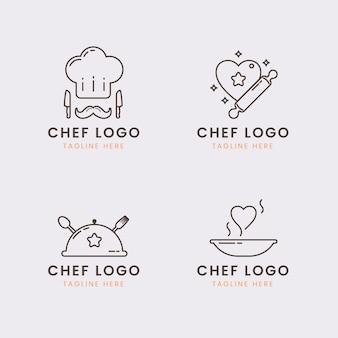 Коллекция логотипов линейного плоского шеф-повара
