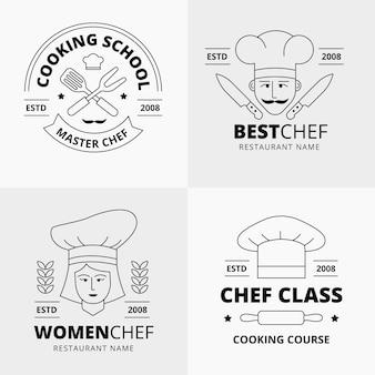 Collezione di logo chef piatto lineare