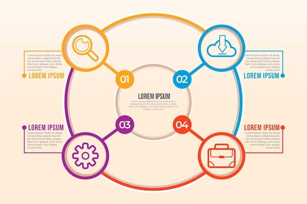 Modello di infografica diagramma circolare piatto lineare