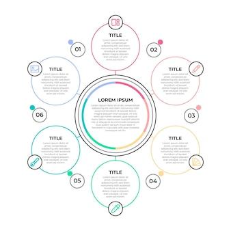 Infografica diagramma circolare piatto lineare