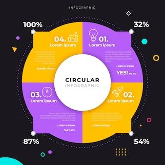 線形フラット円形図のインフォグラフィック