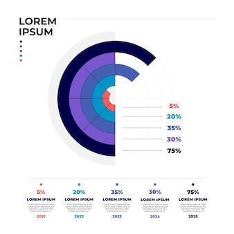 Линейная плоская круговая диаграмма инфографики