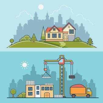 선형 평면 건설 현장 및 교외 집 그림을 설정합니다. 프로세스 비즈니스 개념을 구축. 콘크리트 패널, 모래가있는 덤프 트럭, 녹색 잔디 초원에 집을 짓는 크레인.