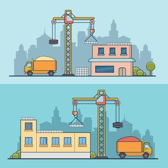 リニアフラット建設現場イラストセット。構築プロセスのビジネスコンセプト。コンクリートパネルを構築するクレーン、砂でダンプカー。