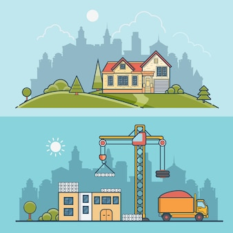 Linear flat construction site and suburb house  illustration set. building process business concept. crane constructing concrete panels, tipper truck with sand, home on green lawn meadow.