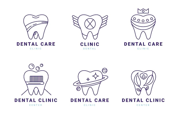 線形フラット歯科ロゴコレクション