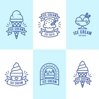 Набор этикеток для мороженого с линейным плоским дизайном