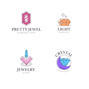 Linear flat design jewelry logo collection
