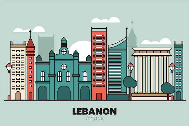 Linear flat design lebanon skyline
