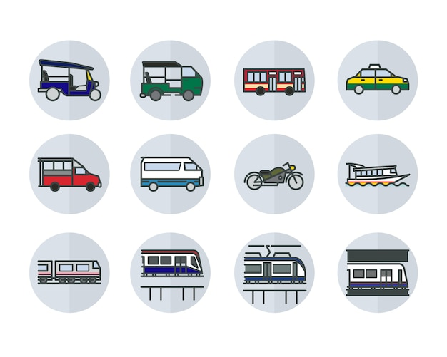 Linear flat design style icons of bangkok public transportations.
