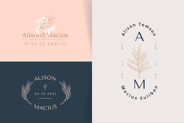 Linear flat design wedding logos