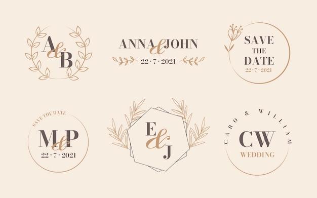 Линейный плоский дизайн свадебных логотипов