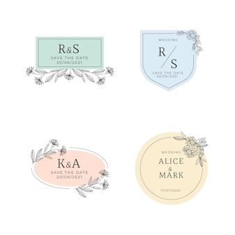 Linear flat design wedding monogram collection