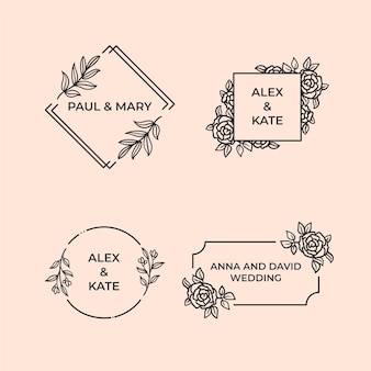 Linear flat design wedding monograms