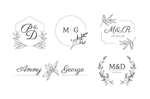 Monogrammi di nozze dal design piatto lineare