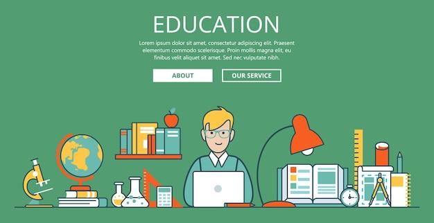 リニアフラット教育ウェブサイトのヒーロー画像イラスト。教育と知識の概念。ノートパソコンと大学のオブジェクトを持つオタク学生。顕微鏡、グローブ、本、フラスコ、試験管、スケッチ。