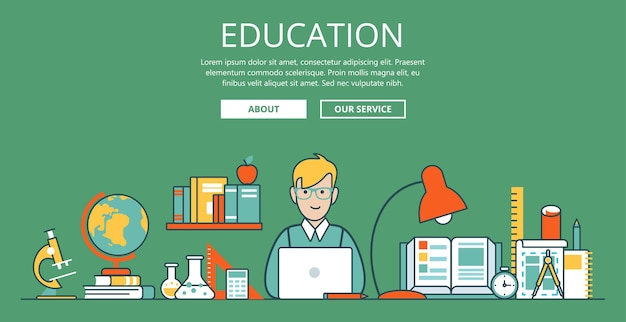 Linear flat education website hero image  illustration. educational and knowledge concept. nerd student with laptop and college objects. microscope, globe, book, flask, test tube and sketch.