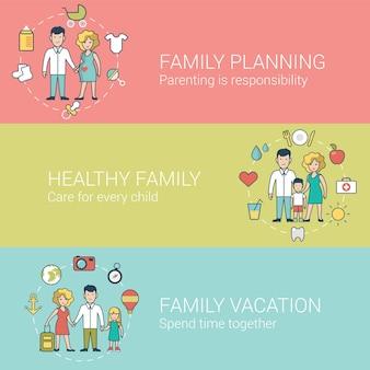 웹 사이트 영웅 이미지의 선형 평면 가족 및 육아 세트. 계획, 육아, 건강한 라이프 스타일 및 일반적인 공동 휴가 개념.