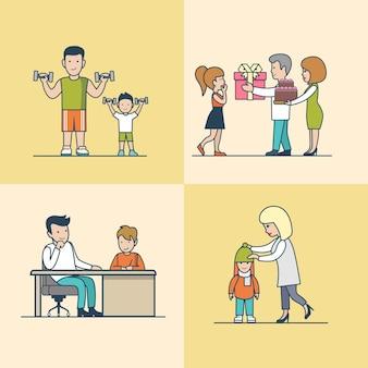 케이크와 선물 상자, 간단한 관리와 관심, 체조 운동 세트가있는 선형 평면 가족 생일 축하. 캐주얼 라이프 육아 개념.