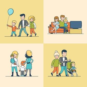 Линейная плоская семья смотрит телевизор на диване, гуляет на открытом воздухе с воздушным шаром или ребенком в детской коляске. концепция воспитания в повседневной жизни.