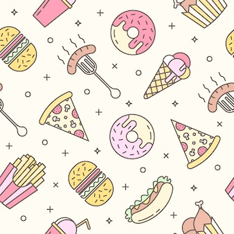 Linear Flat fast food icons seamless pattern.