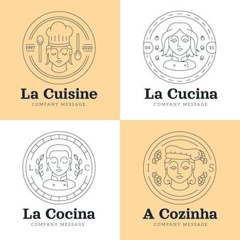 선형 평면 여성 요리사 로고 컬렉션