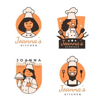 선형 평면 여성 요리사 로고 팩