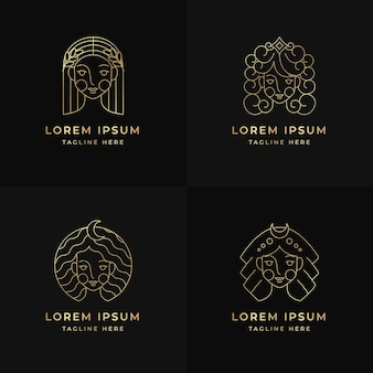 Linear flat goddess logo pack