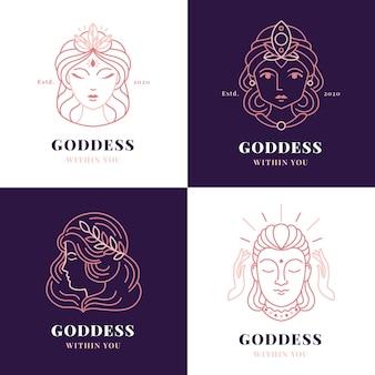Линейный плоский логотип богини