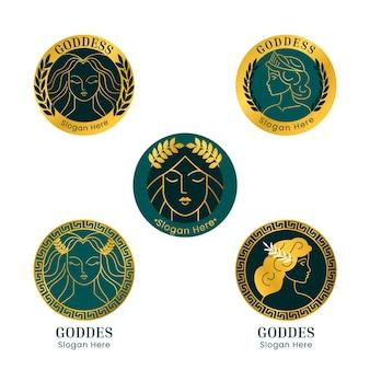 Набор линейных плоских логотипов богини