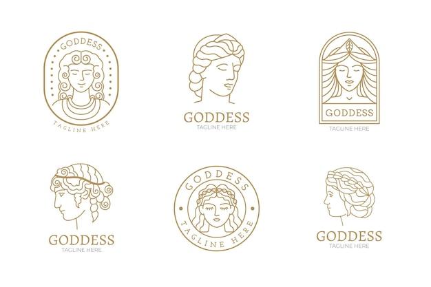 Linear flat goddess logos pack