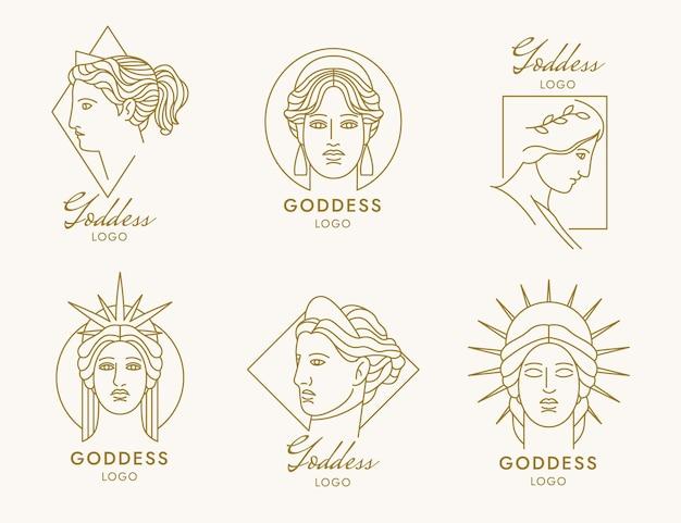 Линейные плоские логотипы богини