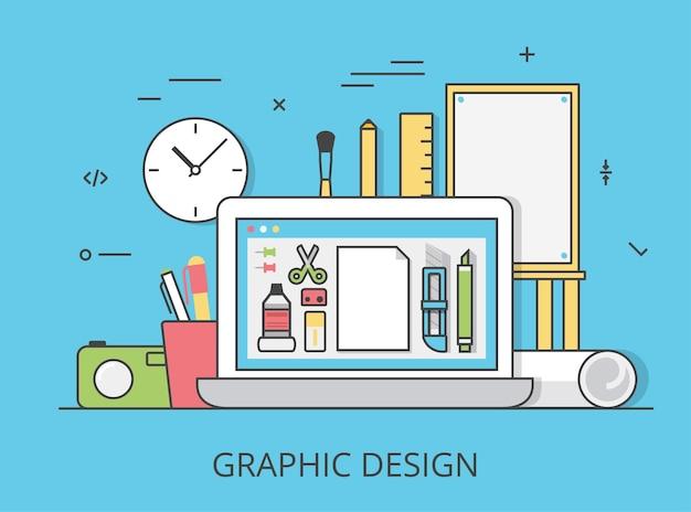 リニアフラットグラフィックデザインウェブサイトヒーロー画像イラスト。デジタルアートツールとテクノロジーのコンセプト。ラップトップ、デジタイザー、定規、カメラ、グラフィック編集ソフトウェアインターフェイス。