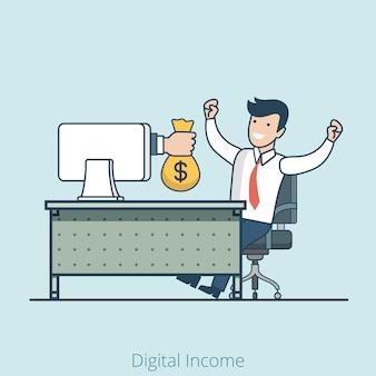 모니터의 선형 평면 손은 행복한 관리자에게 돈 가방을 제공합니다. 전자 비즈니스 및 전자 상거래, 온라인 수익 및 수동 소득, 로열티, 도박꾼 우승자 개념.
