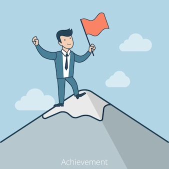Linear flat happy businessman standing on mountain peak with flag in hand. achievement and success in business concept.