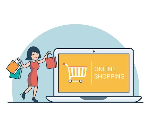 거 대 한 노트북 근처 구매 가방 선형 평면 행복 한 여자. 온라인 쇼핑 개념.