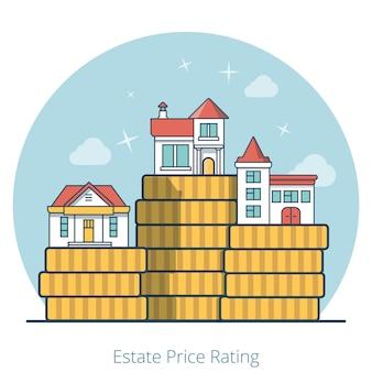 거대한 동전 더미 더미 위에 선형 평면 주택. 비싸고 저렴한 부동산 및 부동산 가격 등급 개념의 차이점.